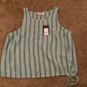 NWT Green&White Pinstripe Blouse